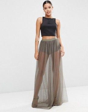 ASOS Sheer Maxi Skirt with Knicker Short