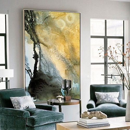 Abstract Oil Painting Wall Art Alloy Material With Frame For Home