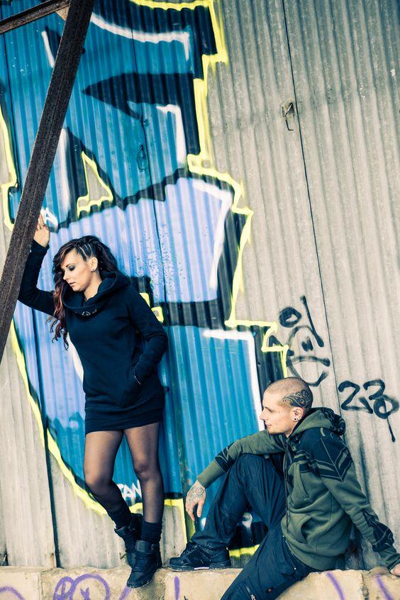 factory ❘❙❚ toonzshop ; plazmaLab ; alternatif couple ; chaos ; disused hangar ; tags ; tattoo ; piercings ; long hair