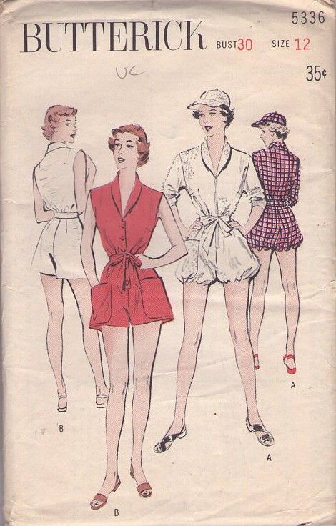 MOMSPatterns Vintage Sewing Patterns - Butterick 5336 Vintage 50's Sewing Pattern SASSY Lucy Rockabilly Playsuit, Beach Romper, Sun Visor Cap, Bubble Leg, Zip or Buttons, Shawl Collar