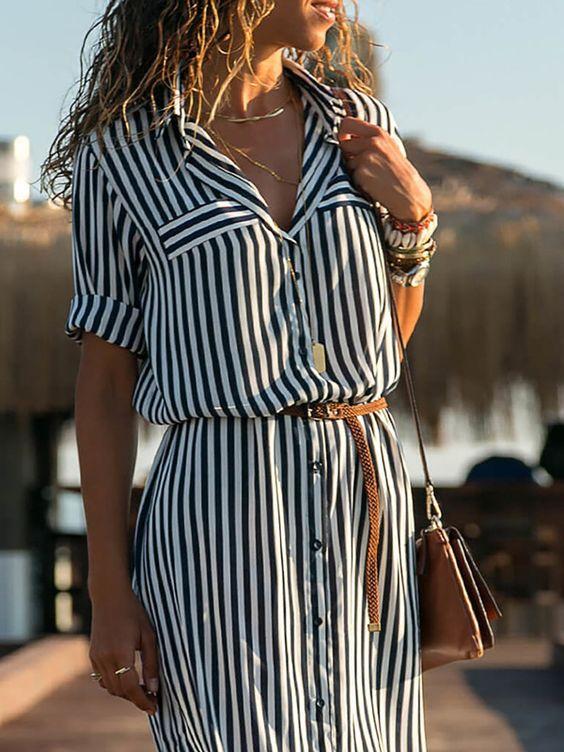 Black-White Half Sleeve Striped Shawl Collar Casual Dresses – shecici