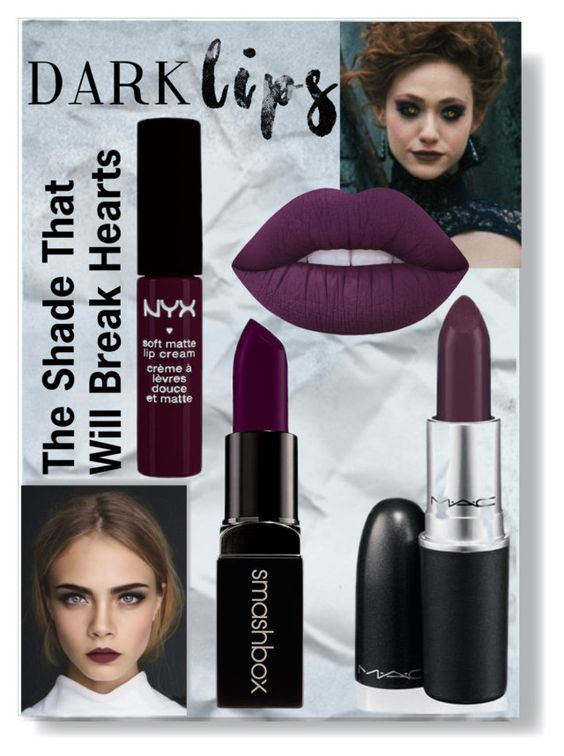 """Dark Lips"" by nikkit13 ❤ liked on Polyvore featuring beauty, Lime Crime, NYX and Smashbox"