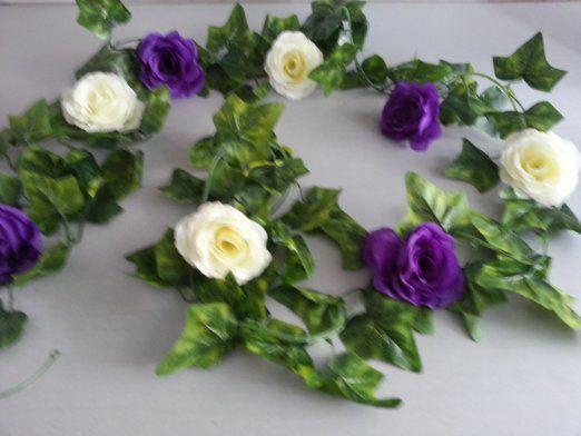 Cadbury Purple Silk Wedding Flowers : Huge ft cadbury purple ivory silk flower ivy garland