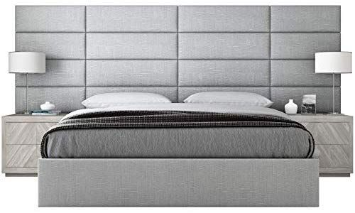 Vant Upholstered Headboards Accent Wall Panels Textured Cotton Weave Gray Mist 39 Quot W Upholstered Walls Upholstered Wall Panels Upholstered Headboard