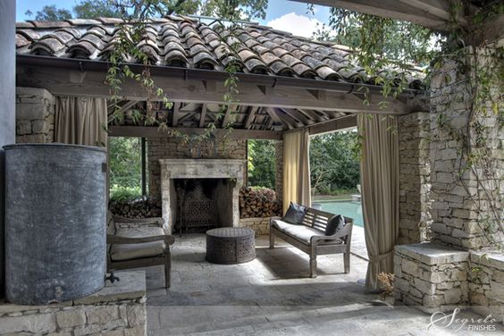 Stucco exterior outdoor living and fireplaces on pinterest for Spanish outdoor fireplace
