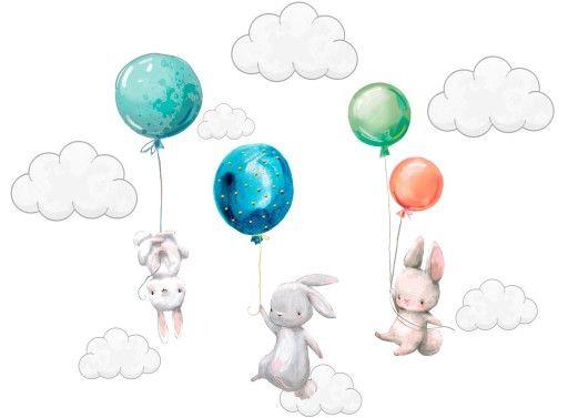 Naklejki Na Sciane Kroliczki Balony Dla Dzieci 100 In 2020 Baby Mobile Baby