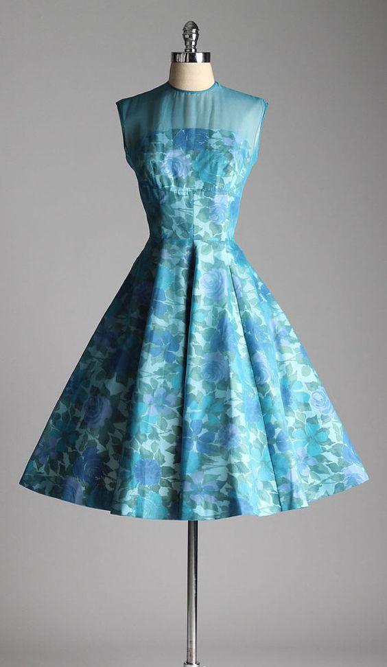 Vintage 1950s dress . blue floral cotton . illusion shoulders ...
