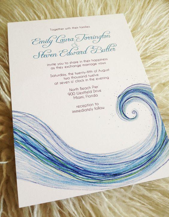 Modern Beach Wedding InvitationSea Spray 200 via Etsy – Etsy Beach Wedding Invitations