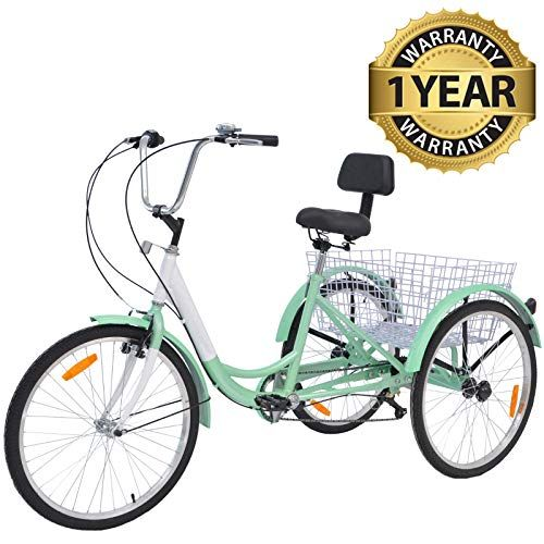 24 inch Adult Tricycle 6 Speed 3 Wheel Bicycle Seniors Cruiser Trike Shopping