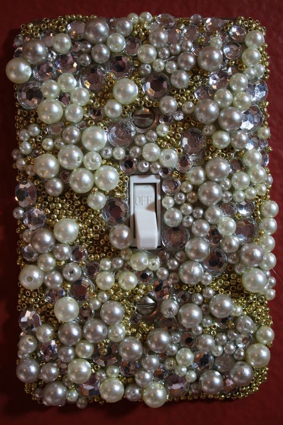 Pearl and Crystal Light Switch Plate Cover. $12.00, via Etsy.