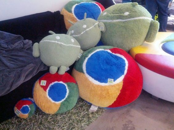Chrome and Android pillows.