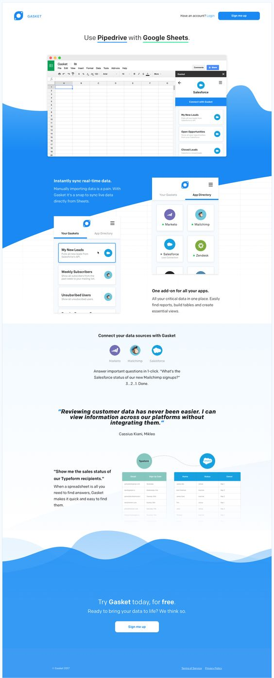 Gasket - Connect your Sheets Landing Pages Inspiration Pinterest