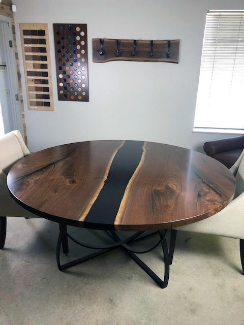 Round Walnut Table With Black Epoxy Resin In 2020 Table Walnut Table Custom Table