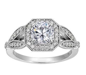 Luxe Victorian Split Shank Halo Diamond Ring