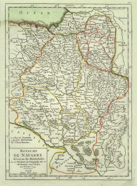 Antiguo mapa del Reino de Navarra :: Royaume de Navarre :: Old map