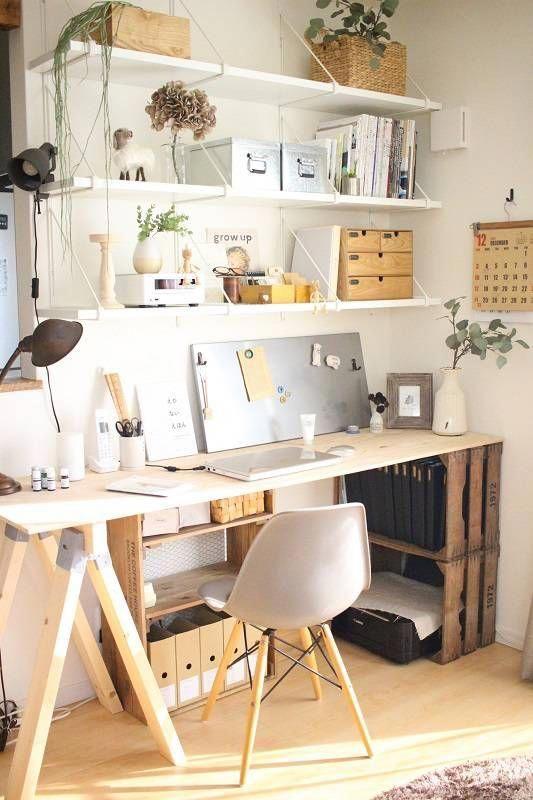 手持ちの棚と○○を利用して、PCデスクをプチプラ簡単DIY! : Chairs and.ナチュラルなインテリアと雑貨と手作りと、日々のこと。 #homeofficedecor