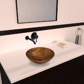 Found it at Wayfair - Amber Sunset Glass Vessel Bathroom Sink with Olus Wall Mount Faucet