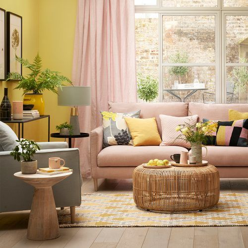 Sunshine Yellow Living Room With Blush Pink Sofa And Curtains