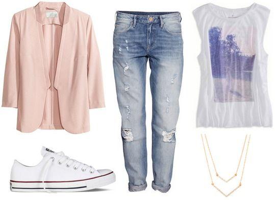 Converse, boyfriend jeans, blazer - outfit idea!
