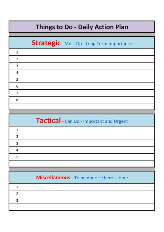 A schedule template that indicate what is to be done at what time - daily action plan template