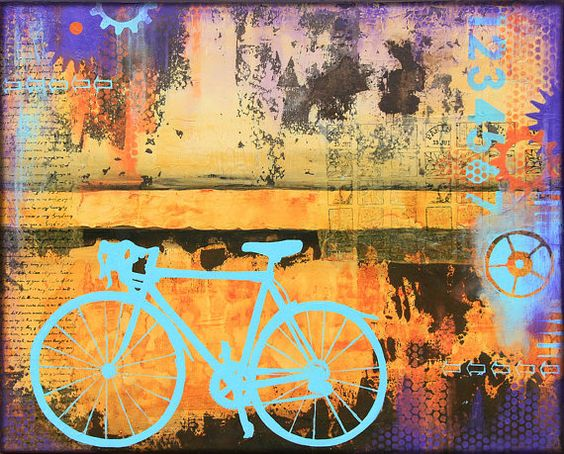 Urban biking painting giclee print on fine art paper or 3 for Bicycle painting near me