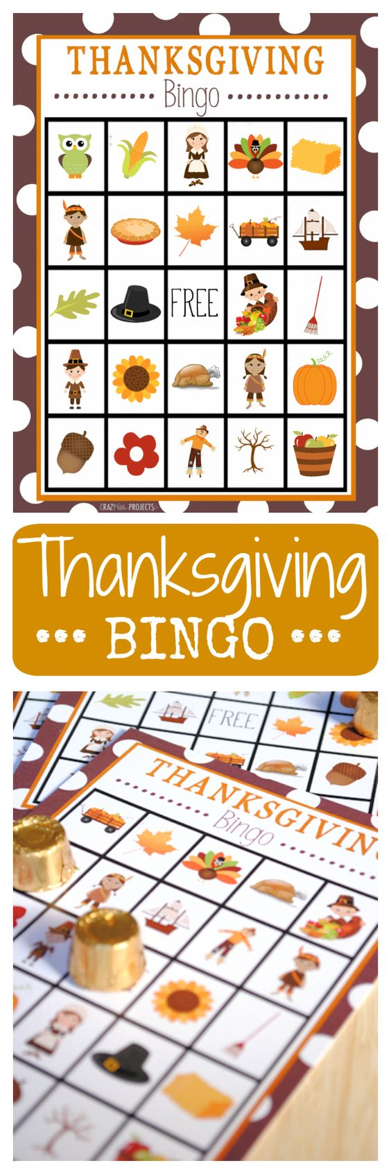 Free Printable Thanksgiving Bingo cards for kids. Print them out for a Thanksgiving party or to play before dinner on the big day.: