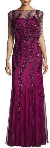 Aidan Mattox Cap-Sleeve Beaded Godet Gown