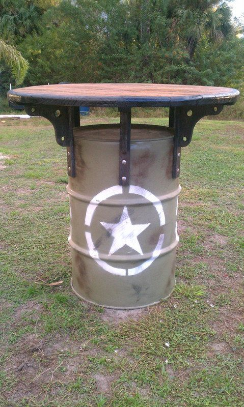 Drum table awesome and drums on pinterest for Metal 55 gallon drum