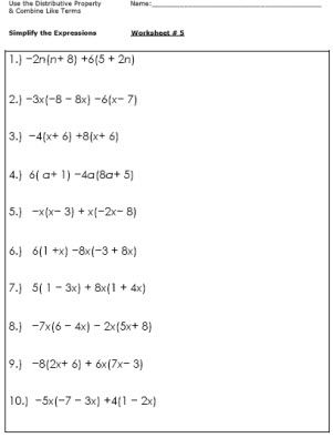 math worksheet : practice simplifying expressions with these algebra worksheets  : Math Distributive Property Worksheets