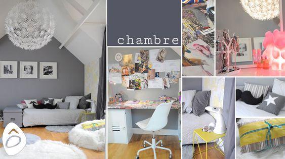 d coration une chambre d 39 adolescente gris blanc et jaune. Black Bedroom Furniture Sets. Home Design Ideas