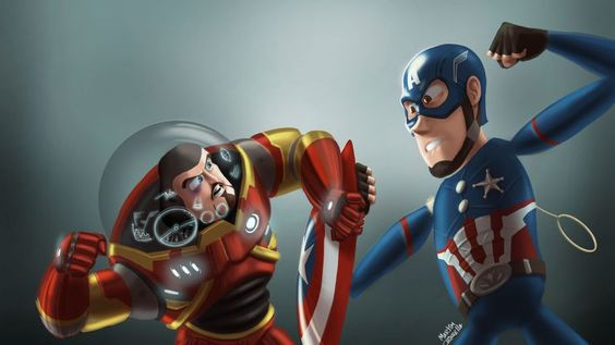 Woody in Captain America's Costume fighting Buzz in Iron Man's costume