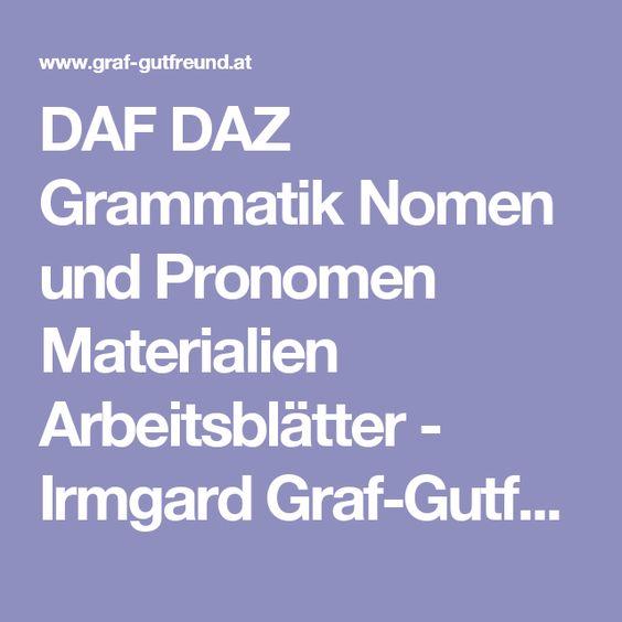 DAF DAZ Grammatik Nomen und Pronomen Materialien Arbeitsblätter - Irmgard…