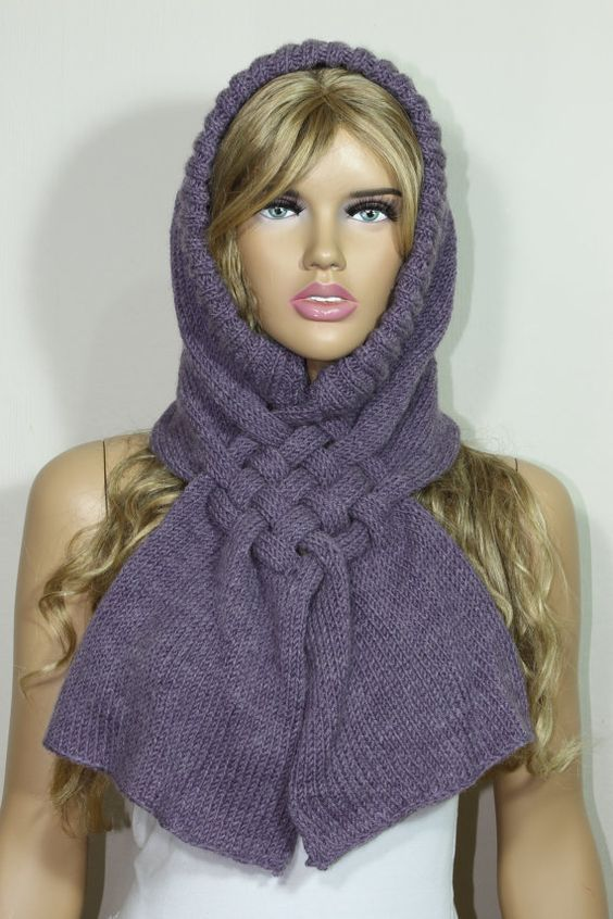 Handknit Scarf Hooded Scarf Lilac Scarf Knit Warmer by escherpe, $35.00 #scarf #scarves #knit #handknit #lilac #purple #hooded #cowl #warmer #winter #fall #accessories #women #forher