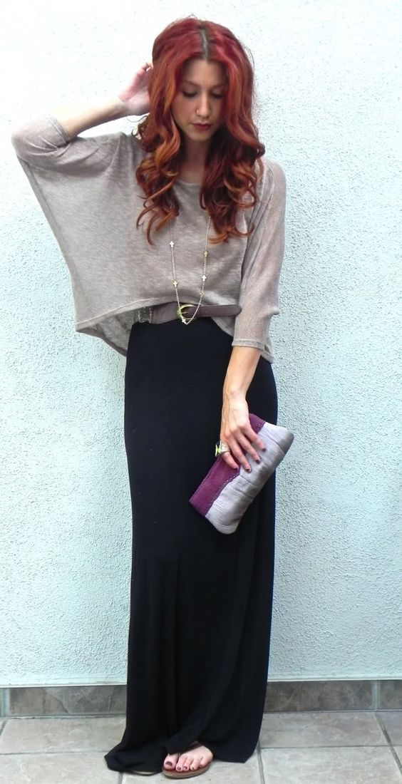 I think the blousy top silhouette works very well with straight maxis...(neutral maxi skirt outfit repin)