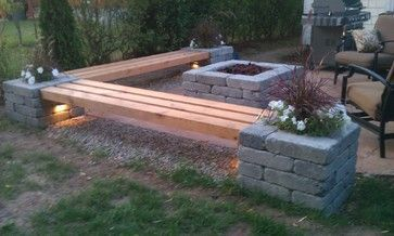 Love the built in benches benches by the fire pit--this would be perfect for our backyard!: