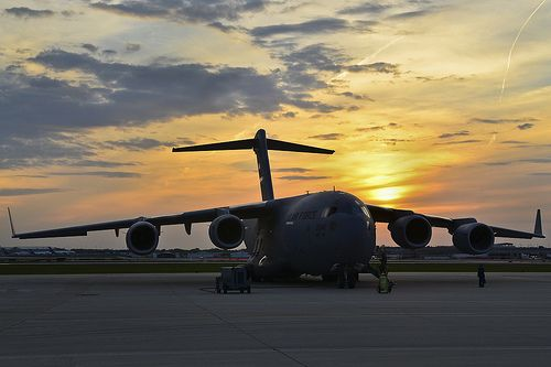Sweet dreams, a photo by Official U.S. Air Force on Flickr. Via Flickr: The sun sets on a U.S. Air Force C-17 Globemaster III cargo aircraft in Milwaukee on May 11, 2012. Many vintage and current military aircraft were on display for the 2012 Armed Forces Military Display. The military …
