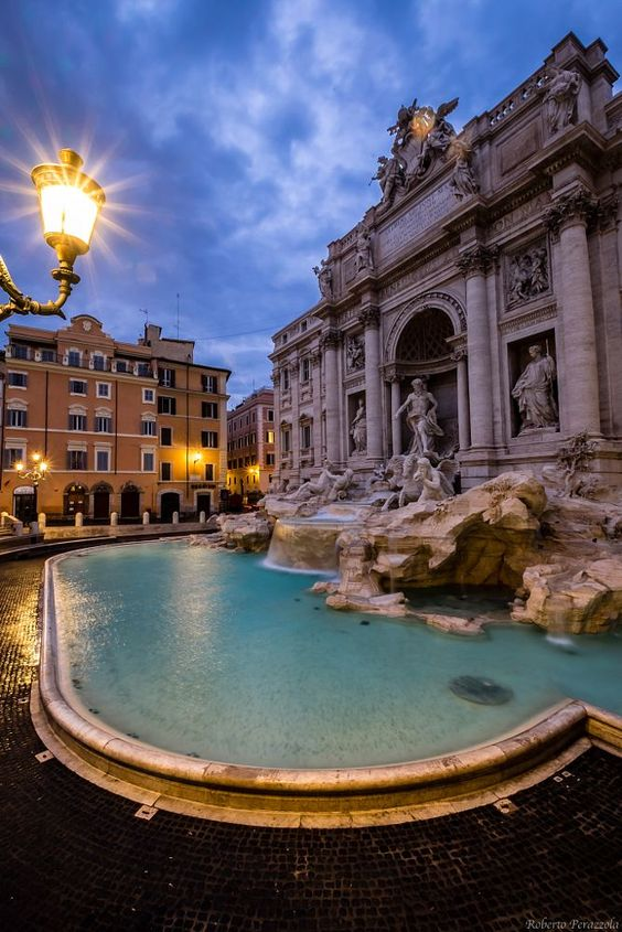 Dawn over Trevi fountain, Rome, Italy: