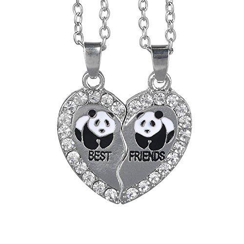 Panda Collier Femme Sterling Argent 925 Coeur Pendentif Cadeau pour Femme Fille