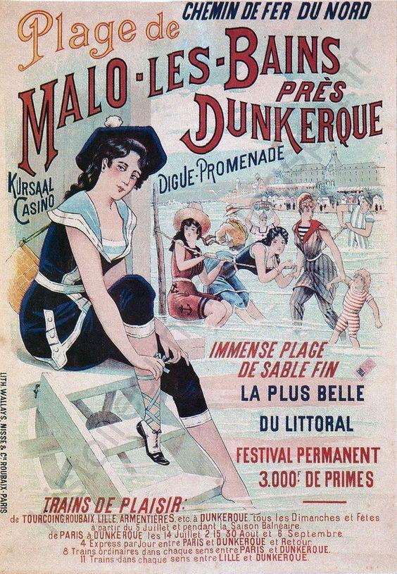 Affiche chemin de fer du Nord - Malo-les-Bains - Dunkerque - France -