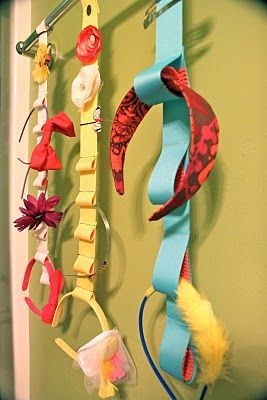 Organize head bands in a way that she can see them!