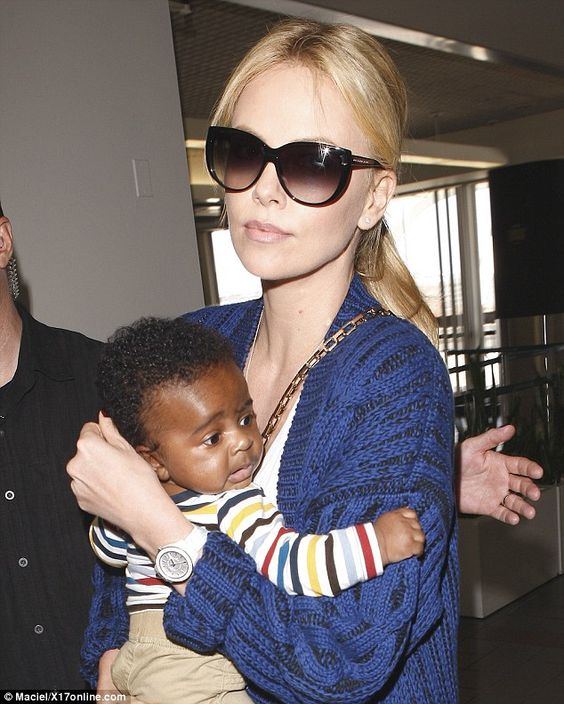 Charlize Theron and her adopted baby Jackson