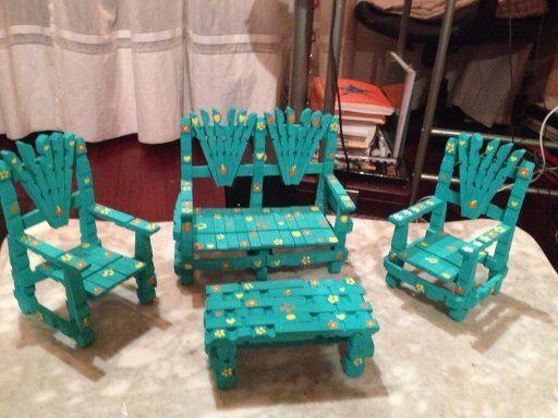 Muebles de jard n con pinzas de ropa furniture for Manualidades de muebles