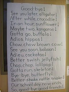 good-bye poem - maybe come up with actions for each line and then recite this every day before we leave...