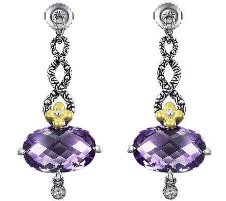Barbara Bixby Sterling & 18K 12.50 cttw Amethyst Earrings