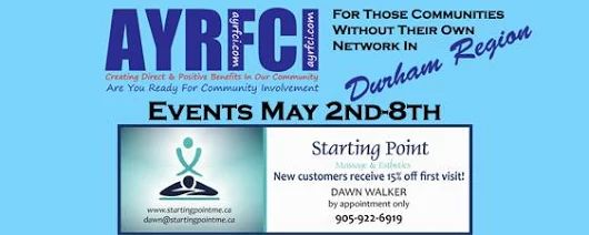 Durham Region Events May 2nd-8th #AYRFCIDurhamRegion #DurhamRegion #DurhamRegionEvents #DurhamRegionEvent https://www.facebook.com/events/1593397494306410/