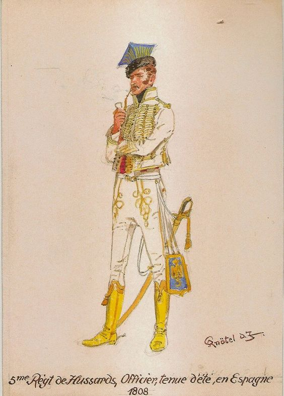 5º de Húsares 1808 Spain. He's wearing an unusual Hot Weather Uniform. H.Knotel