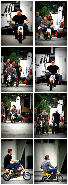 Jensen and Jared on the mini bikes they ride around set. Giant children