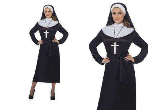 LADIES NUN HABIT AND HEADPIECE FANCY DRESS COSTUME RELIGIOUS OUTFIT AC023