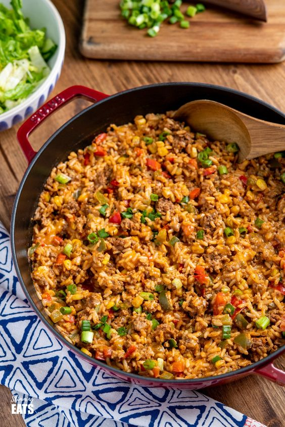 One Pot Taco Beef Rice Skillet