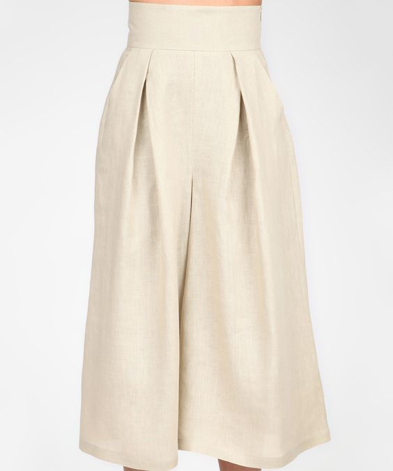 Isabel by Rozarancio Beige Pleated Linen Gaucho Pants | Gaucho ...